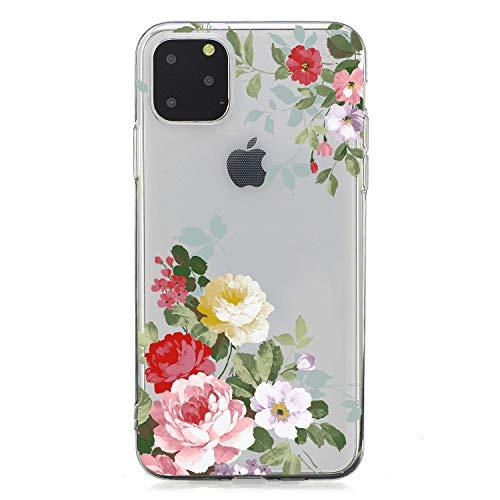 Bling Schön für iPhone 11,3D Flower Cartoon Sparkle Glitter Ultra Dünn Slim Weich Kreative Klar Transparent Flexible Gel Gomma TPU Silikon Hülle