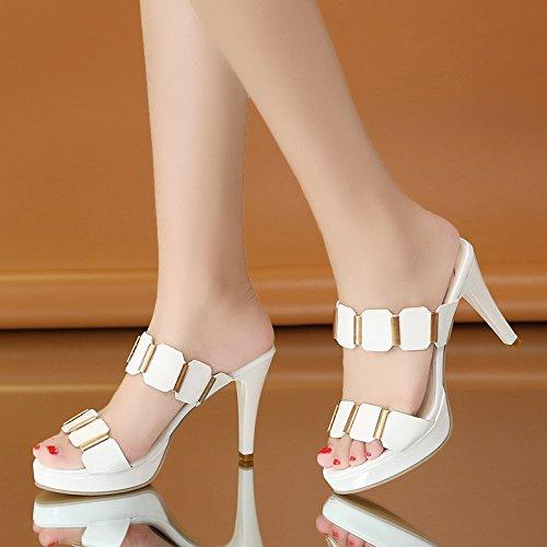 Lgk & fa estate sandali da donna estate alta e fine con impermeabile tavolo pantofole parola trascinare out Cold mop White