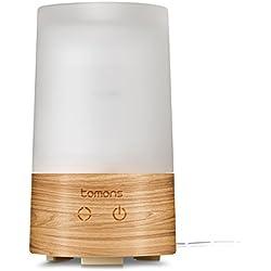 Diffusore di Aromi ad Ultrasuoni Elettrico Tomons AD2002, Design legno naturale/vetro - Umidificatore Ambiente profumato con Luci 6 colori Spegnimento automatico - Profumatore 100 ml