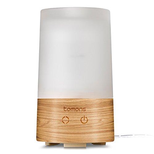Tomons Diffuser für ätherische Öle, Aromatherapie Ultraschall flüsterleise mit sechs verschiedenen Leuchtfarben automatische Abschaltung - 100 ml Luftbefeuchter aus Naturholz/ Glas