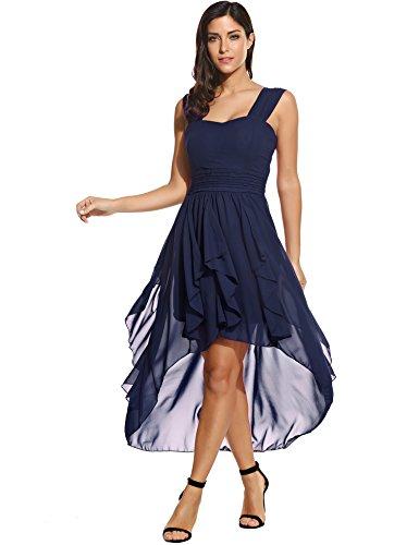 Beyove Damen Chiffonkleid Abendkleid Knielang Elegant Vokuhila Kleid Mit Saum Ballkleid Wickelkleid Sommerkleid Partykleid Cocktailkleid