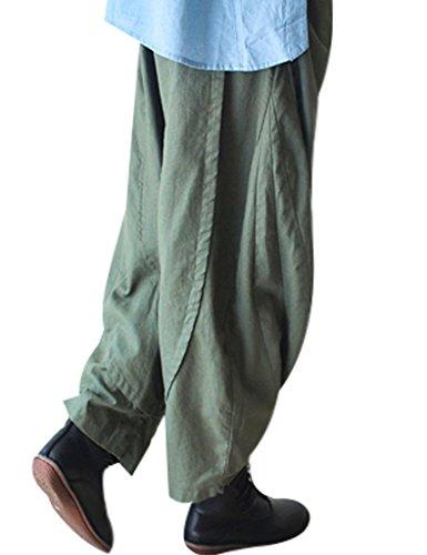 Youlee Damen Elastische Taille Harem Hose Wide Leg Hose Grün