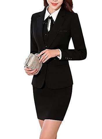 SK Studio Women's Two Piece Busniess Uniform Pants Skirt Jacket Suits Black 6