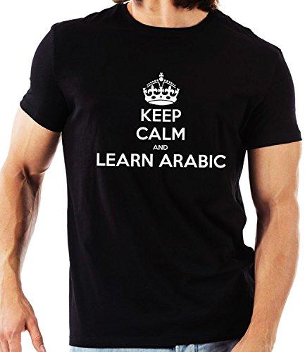 Keep Calm que los niños aprendan árabe Unisex T-camiseta de manga corta camiseta para hombre de personalizado de tu propio inusual en color negro