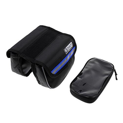 MagiDeal Fahrrad Oberrohr Tragbare Touch Screen Handy Tasche mit Doppel Seiten Taschen Blau
