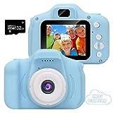 GlobalCrown Mini Fotocamera Bambini,Fotocamera Digitale Compatta Ricaricabile per Bambini, Videocamera per Ragazzi Ragazze 3-8 Anni,1080P Video HD Schermo da 2 Pollici (Scheda Memoria 32 GB Inclusa)