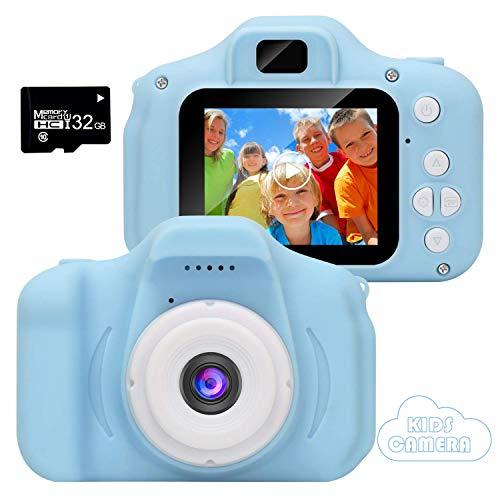 GlobalCrown Mini Les Enfants Caméra Appareil Photo Numériques, Caméscope Antichoc Photo/vidéo pour Filles Garçons de 3 à 10 Ans, Vidéo HD 1080p pour Jeu en Plein air (32G TF Carte Incluse) (Blue)
