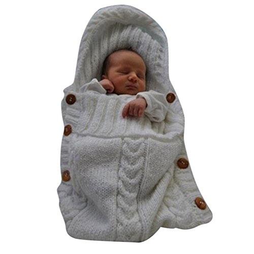 YuanDian Neugeborenes Babydecke Häkeln Stricken Wrap Swaddle DeckeBaby Kinder Kleinkind Knit Decke Swaddle Schlafsack Schlaf Sack Stroller Wrap Für 0-12 Monate Baby Weiß One Size