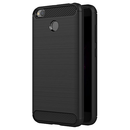 Senyoo Ultra Light Carbon Fiber TPU Armour ShockProof Brushed Silicone Grip Case for Xiaomi Redmi 4 (Black)