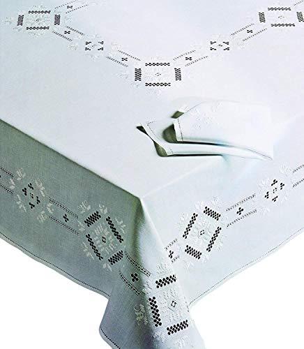 Nappe ovale Point Antique Toscano 100% pur lin brodé à la main Made in Italy 175 x 275 cm avec 12 serviettes