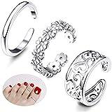 Milacolato 3Pe Toe Anelli Donna Ragazze Regolabili Open Toe Ring Regali Set di gioielli
