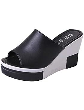 Sandalias para Mujer, RETUROM Plataforma Sandalias Mujer Cuero Cuña Confort Peep Toe Tacón Zapatos para Caminar...