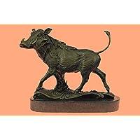 Statua di bronzo Scultura...Spedizione Gratuita...Firmato Barye Cinghiale Animal Mascot Sulla base di marmo(YRD-136-EU)Statue Figurine Figurine Nude per ufficio e casa Décor Primo Giorno Collezionism