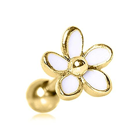Gold Plated Sweet White Daisy Flower Top 1.2mm x 6mm Surgical Steel Tragus Cartilage Upper Ear Earring