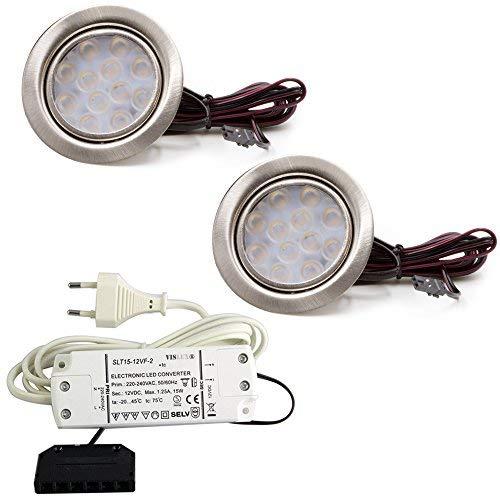 2er Set LED Einbauleuchte Möbelleuchte Einbaustrahler 3W HIGH LED SMD WARMWEISS -