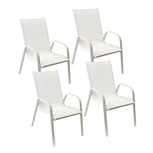 Happy Garden Lot de 4 chaises Marbella en textilène Blanc - Aluminium Blanc