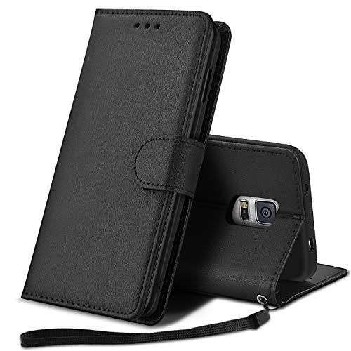 YPPET Hülle für Galaxy S5, Handyhülle Samsung Galaxy S5 Tasche PU Leder Flip Case Wallet Etui Schutzhülle für Samsung S5 Cover, mit Handschlaufe (Schwarz)