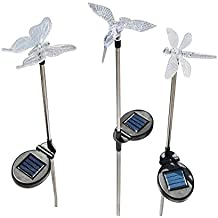 cuzile 3 Pack Solar jardín de luz Lámparas solares mariposas libélula Colibríes LED que cambia de color