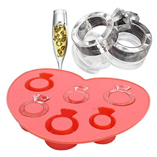 Generic Ice Mold Tray Diamond Love Ring Ice Cube Tray Style Freeze Ice Mold Ice Cream Maker Mould for Summer (Cube Ring-ice Tray)