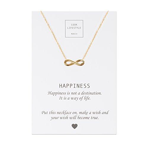 LUUK LIFESTYLE Edelstahl Halskette mit Infinity Anhänger und Happiness Spruchkarte, Glücksbringer, Damen Schmuck, gold