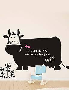 BO Great Cow Cartoon Children's Drawing TeachingBlackboard Wall Sticker,Removable,Black Cubes Calendar