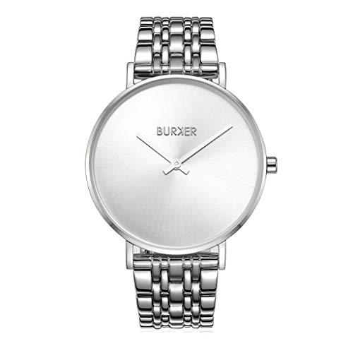 Burker Nancy - Damenuhr Silber | 38mm Silberne Uhr für Damen mit Ziffernblatt in Silver | Frauen Quarz Armbanduhr wasserdicht (30M) | Kleines Flaches Watch Gehäuse - Uhren Armband inklusive