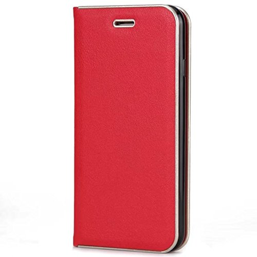 EKINHUI Case Cover Luxus Slim Magnetic Closure Pattern Solid Color PU Leder Flip Folio Stand Fall Deckung mit Card Slot für iPhone 7 und 8 ( Color : Wine Red ) Red