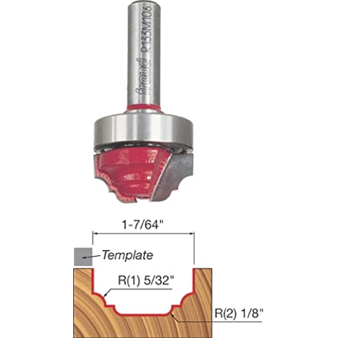 Freud 39-504 1-7/64-Inch Diameter Top Bearing Cove and Bead Groove Router Bit with 3/8-Inch Shank by Freud