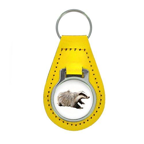 Dachs Bild Schlüsselring Geschenkverpackung - bunt Leder - Gelb, One size