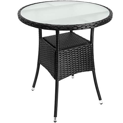 Deuba Poly Rattan Beistelltisch Schwarz I Ø 60 x 74cm I Milchglas Tisch I Rund Gartentisch Balkontisch Garten Möbel
