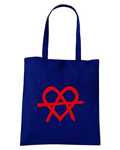T-Shirtshock - Borsa Shopping FUN0570 anarchy heart womens tshirt Blu Navy