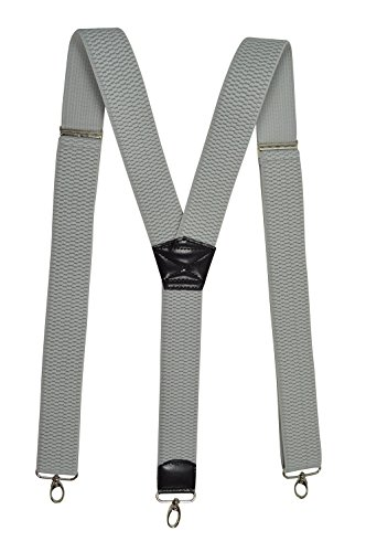 Olata Extra starker, Extra Breite Hosenträger 4cm Y-Form mit Karabinerhaken. Hellgrau - Männer Für Gürtelschlaufe, Hosenträger