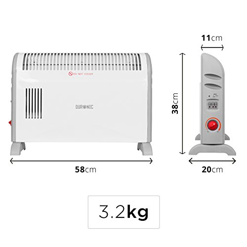41SGX73KAAL. SS500  - Duronic Convector Heater HV120 | 2kW/2000w | Electric | Convection Heating | Adjustable 3 Heat Settings 750 / 1250…