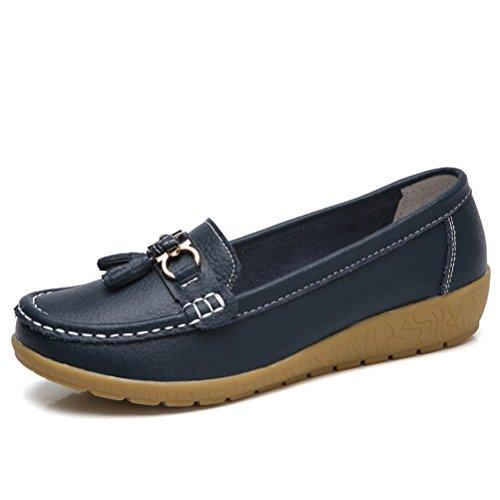 Mallimoda donna mocassini con zeppa casual comodo piatte loafers scarpe con frangia marina militare eu 35=asian 35