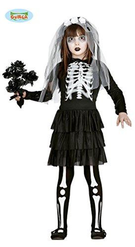 Braut Skelett Kinder Kostüm für Halloween Mädchen Halloweenkostüm Gr. 110-146, (Kostüme Freche Halloween)