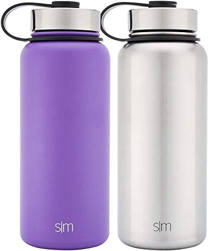 t Wasser Flasche 2Pack-Zwei Vakuum Isolierte Edelstahl Wide Mouth Hydro Reise Tassen,-Pulver, doppelwandige Thermobecher, Lilac Purple/Stainless Steel ()