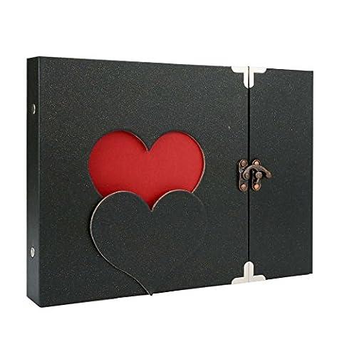 Album photo Scrapbook de bricolage avec serrure, (un coeur, style creux) par Yeelan