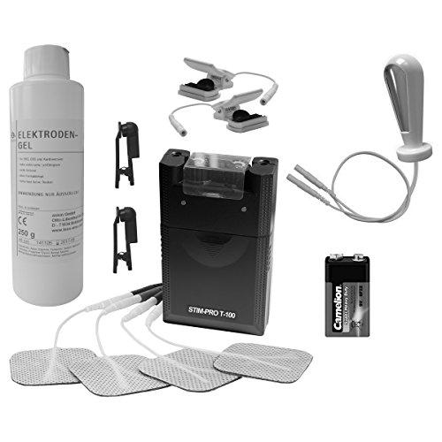 Reizstrom Set inkl. TENS Gerät, Vaginalsonde, Karbon-Klemmen, Pad - Klammern, Kontaktgel