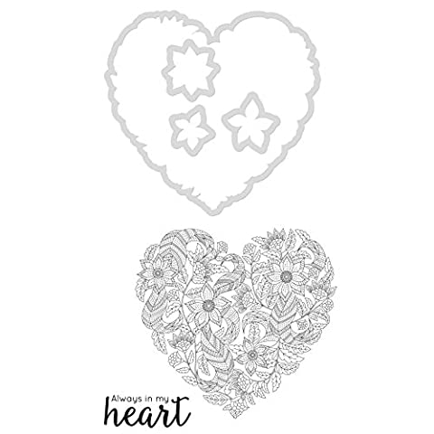 Kaisercraft Dies and Stamps Heart .5-inch x .75-inch To 3.75-inch x 4-inch