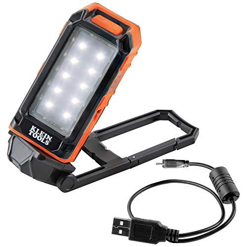 Klein Tools LED Work Light USB Rechargeable with Built-in Kickstand and Carabiner for Illumination and Charging Small Electronic Devices 56403