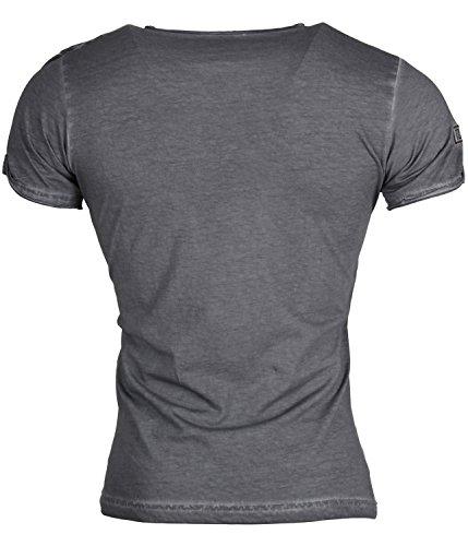 Tazzio Herren T-Shirt Poloshirt Polo Hemd Slim Fit Japan Style Kurzarm Anthrazit