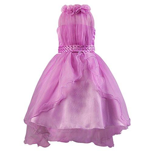 Katara 1382 - Abito da sera velato per bambine, 104/110 cm, colore: Viola