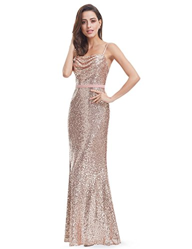 Ever Pretty Lang Pailletten Elegant Partykleid Cocktailkleid Abendkleid 40 Rosa Gold - 6