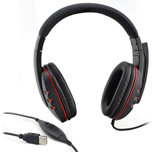 Usb Headset,LESHP Computer Headset Schwarz Verstellbare Lautstärkeregelung USB Verkabelt Stereo Mikrofon Kopfhörer Mic Headset für PS3 PC Spiel Ps3 Bluetooth Headset Mic