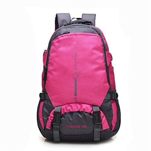 Sport all'aria aperta zaino da viaggio, zaino da viaggio per il tempo libero di grande capacità, l'alpinismo zaino grande capienza, il sacchetto di spalla di corsa di grande capacità impermeabile, in  rose red