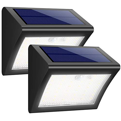 iPosible Luz Solar Jardín, Foco Solar 38 LED 1500mAh Lámpara Solar de Pared Impermeable,Luces solares Exterior con Sensor de Movimiento Batería Solar 3 Modos para Jardín,Patio,Camino - 2 Paquetes