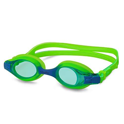 rabofly Kinder-Schwimmbrille, Antibeschlag- und UV-Schutz, Kein Auslaufen, sichere und Komfortable Abdichtung Kinder-Schwimmbrille für 4–12 Jahre Alt für Jungen und Mädchen, grün