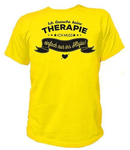 Artdiktat Herren T-Shirt Ich brauche keine Therapie - Ich muss einfach nur ins Allgäu Gelb