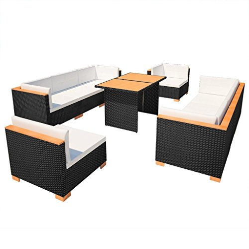 SSITG Garden Sofa 32 Pieces Poly Rattan WPC Black Lounge Set