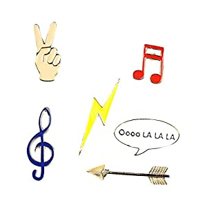 Brosche Anstecknadel Anstecker Pins Metall Brosche 6 Stück Set Musik Musiknote Pfeil Blitz Hand